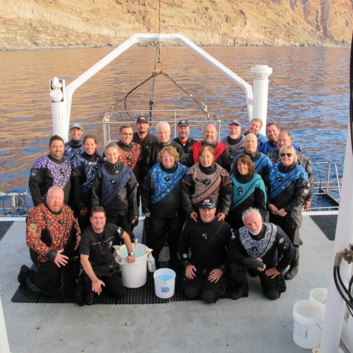 group photo of the Nautilus Belle Amie great white shark trip