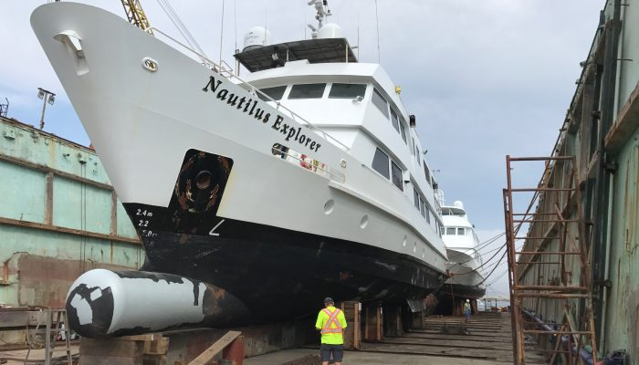 Nautilus Explorer and Belle Amie in dry dock