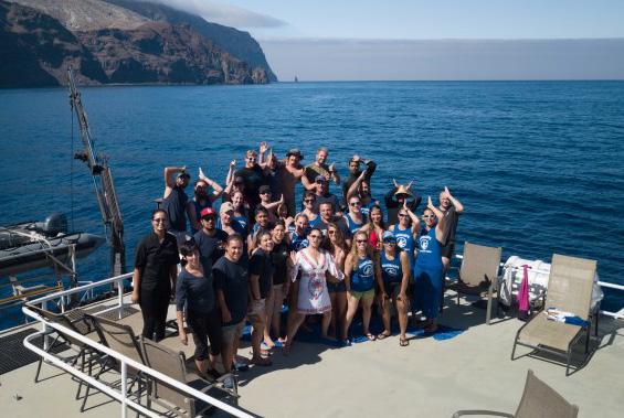 everyone aboard on deck posing