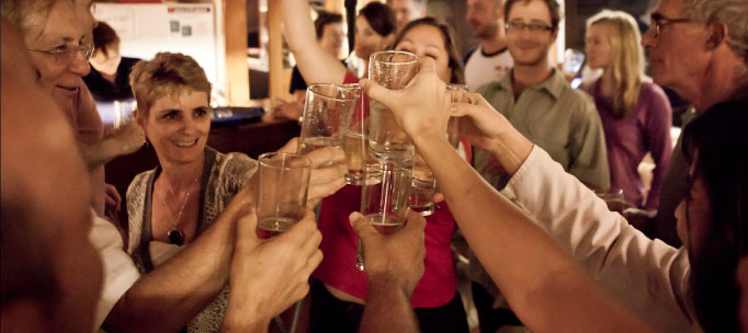 Nautilus guests toast in celebration of the trip