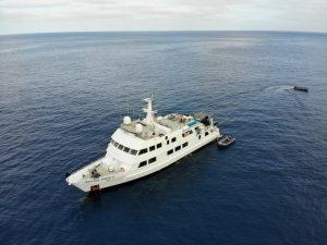 high aerial view of the nautilus explorer at calm seas