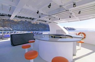 The bar on Sun Deck onboard the Nautilus Belle Amie