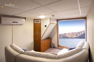 The Premium suite lounge on the Nautilus Explorer